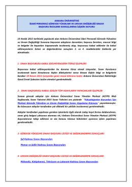 ankara üniversitesi idari personeli görevde yükselme ve unvan