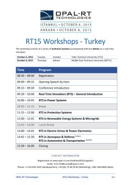 RT15 Workshops - Turkey - Opal-RT