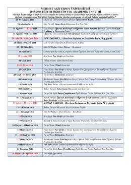 2015-2016 Eğitim-Öğretim Yılı Önlisans ve Lisans Akademik Takvimi