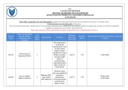 tc yaşar üniversitesi 2015-2016 akademik yılı güz dönemi kısmi