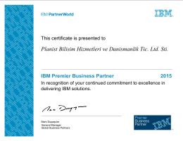 Planist Bilisim Hizmetleri ve Danismanlik Tic. Ltd. Sti. IBM Premier