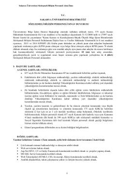 Sakarya Üniversitesi Sözleşmeli Bilişim Personeli Alım İlanı