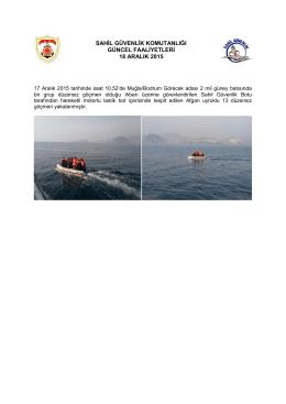17 Aralık 2015 - Sahil Güvenlik Komutanlığı