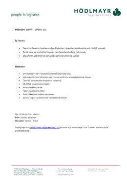 Pozisyon: Stajyer – Zorunlu Staj İş Tanımı: • Genel muhasebe