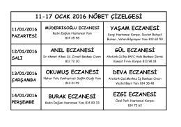 11-17 OCAK 2016 NÖBET ÇİZELGESİ