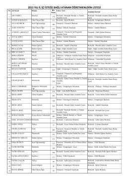 2015 yılı il içi isteğe bağlı atanan öğretmenlerin listesi