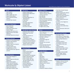 Genel İş Objeleri ve Modül Listesi