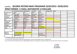KELEBEK SİSTEMİ SINAV PROGRAMI 22/05/2015- 29