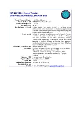 ELN5209 İleri Anten Teorisi Elektronik Mühendisliği Anabilim Dalı