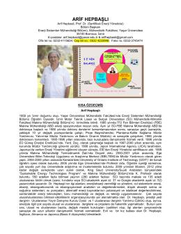 Arif HEPBAŞLI, Prof. Dr. - Yaşar Üniversitesi — Enerji Sistemleri