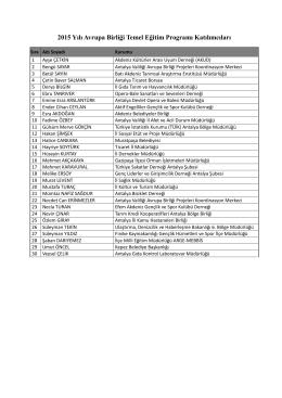 2015 Yılı Avrupa Birliği Temel Eğitim Programı Katılımcıları