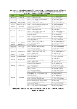 mazeret sınavları 21-22-23-24-25 aralık 2015 tarihlerinde yapılacaktır.