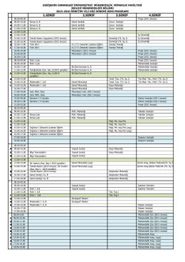2015-2016 Güz Dönemi Ders Programı