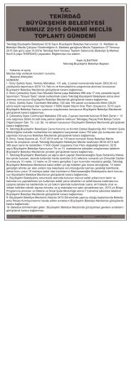tc tekirdağ büyükşehir belediyesi temmuz 2015 dönemi meclis
