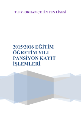 2015/2016 Pansiyon Başvuru Kayıt İşlemleri