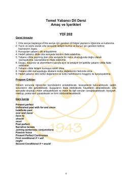 YDI202 İngilizce IV