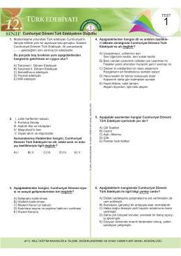 12. Sınıf Türk Edebiyatı Test 1 İndir
