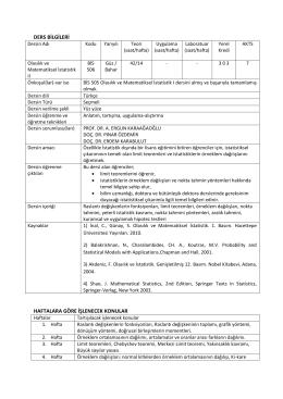 BİS 506 Olasılık ve Matematiksel İstatistik II
