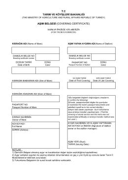 tc tarım ve köyişleri bakanlığı aşım belgesi