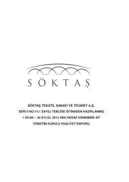 SOKTAS TEKSTIL YK FAALIYET RAPORU 30 09 2015
