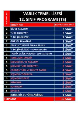 VARLIK TEMEL LİSESİ 12. SINIF PROGRAMI (TS)