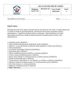 AİLE KATILIMI TERCİH FORMU Doküman No:F7