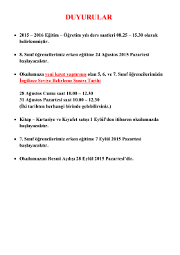 DUYURULAR - Cumhuriyet Koleji