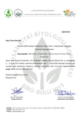 09/07/2015 Sayın Emre Sevindik Abant İzzet Baysal Üniversitesi