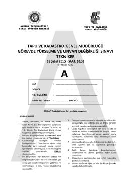 TEKNİKER SINAVI SORULARI - Artvin Kadastro Müdürlüğü
