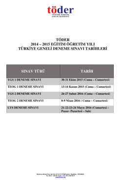 töder 2014 – 2015 eğitim öğretim yılı türkiye geneli deneme sınavı