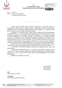 kts kayıtlara açılması - Sağlık Bilgi Sistemleri Genel Müdürlüğü