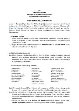 İşletme Stajı Raporu - Bilişim Sistemleri Mühendisliği Bölümü