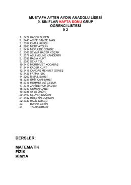 dersler - Mustafa Ayten Aydın Anadolu Lisesi