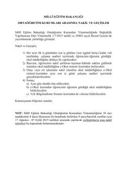 Ortaöğretim Kurumları Arasında Nakil ve Geçişler.