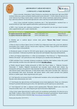 5. Sınıf Kayıt ve Nakil Duyurusu - Abdurrahman Vardar İlköğretim