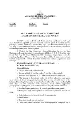 Bilecik Adliyesi 2015 Yılı Ceza Mahkemeleri Bilir Kişi İlanı. 06/10/2015