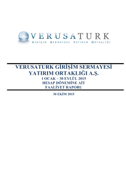 Verusaturk 30.09.2015 Faaliyet Raporu