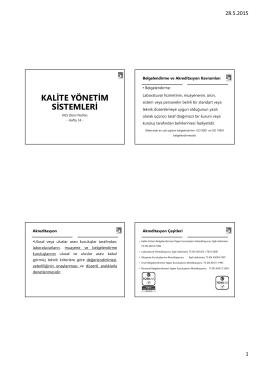 9- Kalite Yönetim Sistemleri