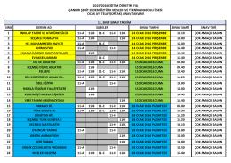 11. Sınıf Telafi Ortak Sınav Takvimi
