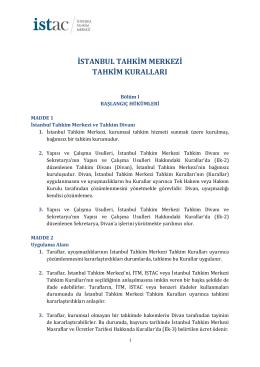 istanbul tahkim merkezi tahkim kuralları