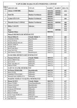 yapı daire başkanlığı personel listesi