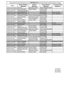 2015 Nisan Ayı Öğretmen Nöbet Listesi