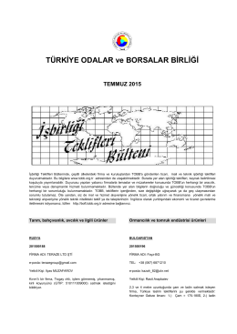 2015 Temmuz (pdf-275 Kb) - Dünyadan İşbirliği Teklifleri