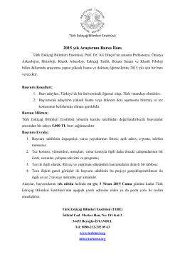 2015 yılı Araştırma Bursu İlanı - Türk Eskiçağ Bilimleri Enstitüsü