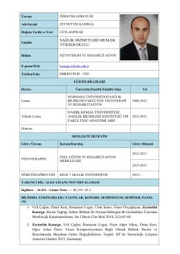 Zeynettin KASIRGA - Sağlık Hizmetleri Meslek Yüksekokulu
