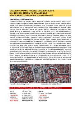 mimarlık ve tasarım fakültesi mimarlık bölümü 2014