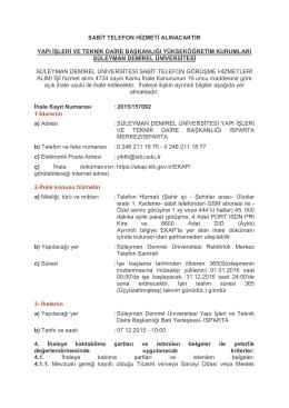 sabit telefon hizmeti alınacaktır yapı işleri ve teknik daire başkanlığı