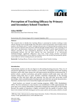 Perception of Teaching Efficacy by Primary and Secondary School