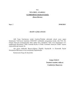 Basın Açıklaması - TC İstanbul Anadolu Adalet Sarayı