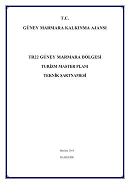 Teknik Şartname - Güney Marmara Kalkınma Ajansı